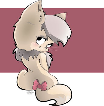 Kittie with bordeaux colored background by SaPuddichina