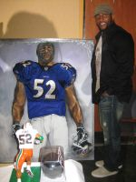 Ray Lewis with painting by dorseyart