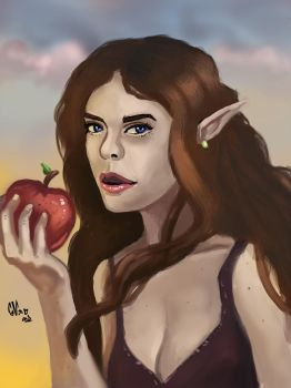 Elf with apple by IcedEdge
