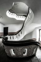 Staircase of brown and white by no-trespassing