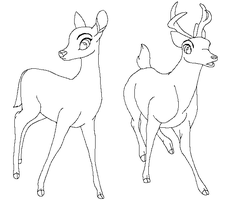 Traced Bambi base - Female and male deer by TBAdopts