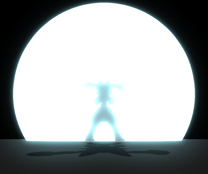 3D Test: Anime Explosion and Character Silhouette by MarkyMarktastic