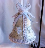 White and Silver Brocade Wedding Bell Ornament by DaraGallery