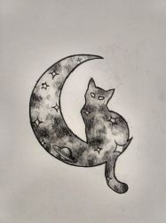 Space cat tattoo design (traditional) by Infernal-Feline