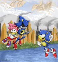 Sonic vs Metal Sonic by liquidshade