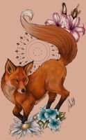 Spring fox [Tattoo Design] by JulietGarciaArt