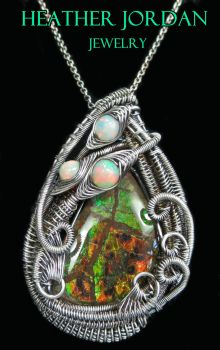 Wire-Wrapped Ammolite Pendant in SS w Opal by HeatherJordanJewelry