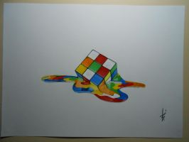 Drawing Cube Rubiks 2015 effect melted by DibujarteRiestra