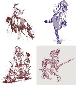 Sketches i did in January part 1 by Nonparanoid