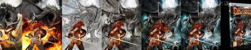 Heroes and Dragons. Illustration steps. by flipation