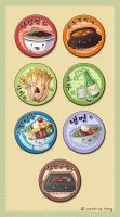KOREAN food - Button Set by kehrilyn