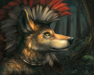 Wolfsinger in the Woods by GoldenDruid
