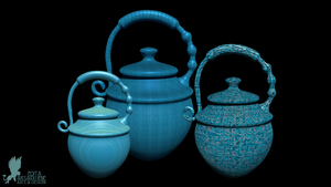 Three Blue urns by Lynxette79