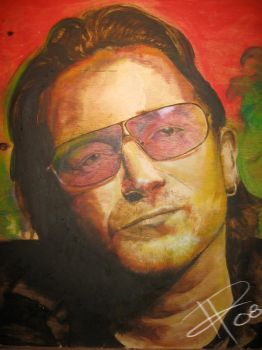 Bono on wood by DragonReverie76