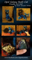 Skalli Cat Opal Galaxy Posable Art Doll by Eviecats