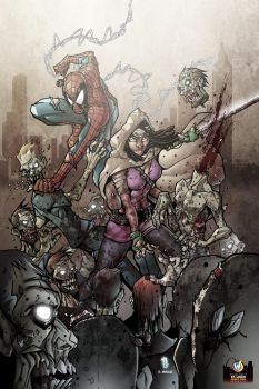 Michonne and Spidey by JUANPUIS