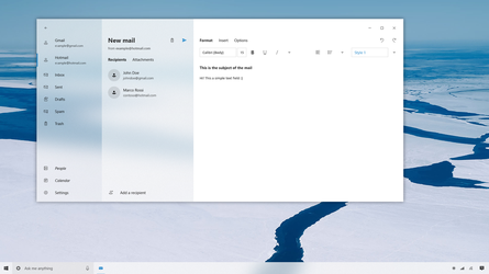 Writing a mail - Fluent Design System Concept by SamuDroid
