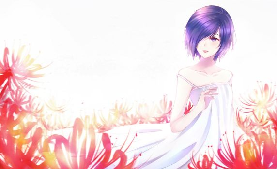 Touka with Spider Lilies by LoiLoiChan
