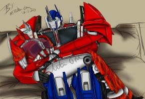 Causeway an Optimus -Expecting by Elita-One-Arts