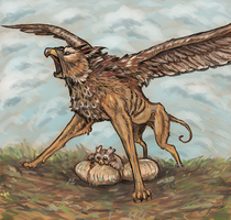 Gryphon protecting the nest by shivikai