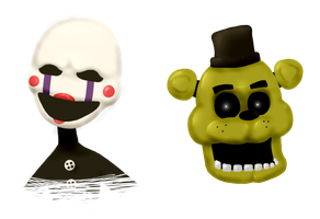 Puppet and Golden Freddy - Fnaf by NekuZ