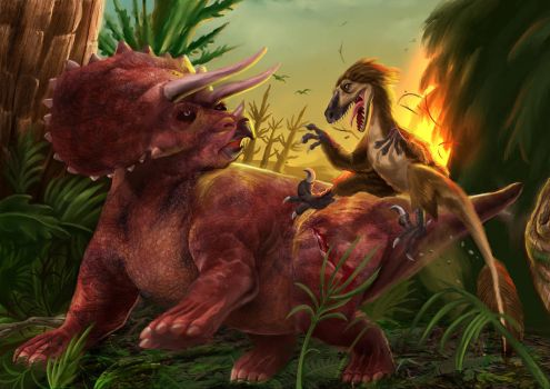 Triceratops and deinonychus color by judson8