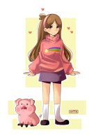 Mabel Pines y Pato (Gravity Falls) by Nataly2