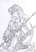 Lizardman warrior by Kanuky