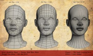 'Female Head Bases' Low, Mid n High Poly by LiamGolden