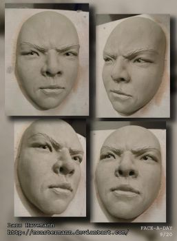 FACE-A-DAY 9/20 sculpture by Monstermann