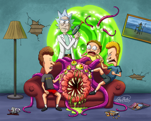 Rick and Morty X Beavis and Butthead by Sawuinhaff