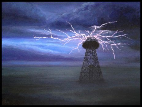 Tesla Wardenclyffe Tower w landscape by LisaCrowBurke