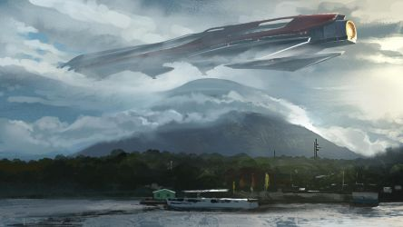 Spaceship Sketch by jonathanguzi