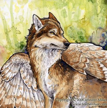 Barred Winged Wolf by Nambroth