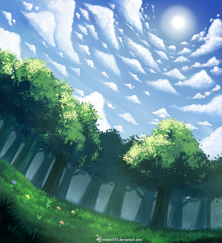 Clouds, trees and Grass by Instanz573