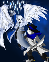 Commission Abyss sans  vs Outlaw sans by Meta-Kaz