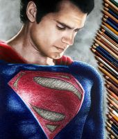 Colored Pencil Drawing of Superman Henry Cavill by JasminaSusak
