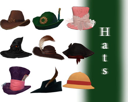 [MMD] Hats - DL by JoanAgnes