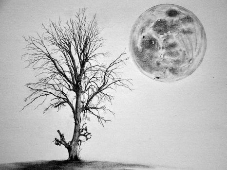 The Tree and the Moon WIP 3 by SimonVelazquezArt