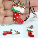 Christmas Stockings with Treats Polymer Clay by ArtzieRush