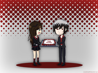 B-Day Gift: Chibi Roman and Ami by crazy4anime09
