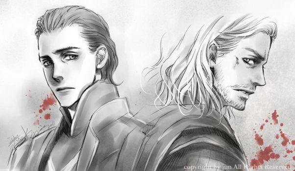 THOR    loki and thor by JUN-KAMIJO