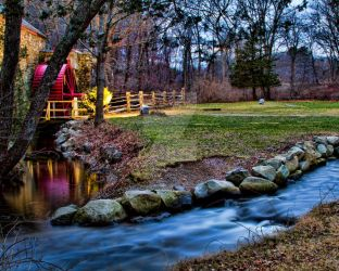 Wayside Inn Grist Mill - Hop Brook Side by LakesideMaiden