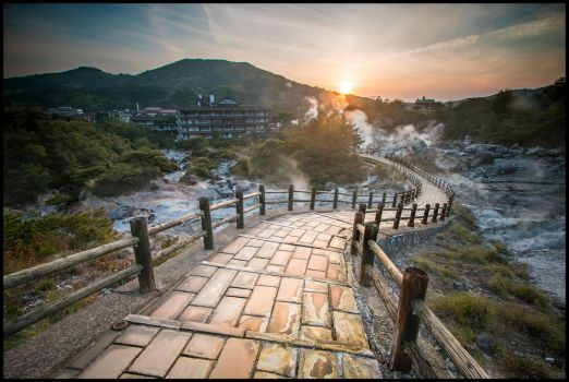 Sunset at Unzen Onsen by thesolitary