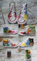 Green Day chucks by luzifersdaughter