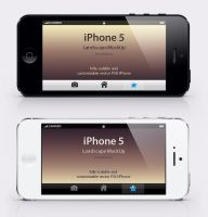 Free iPhone 5 Psd Landscape Mockup by Pixeden