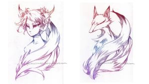 Nature's Twins: Kitsune by glaciesClOvEr