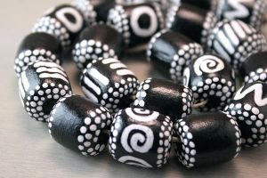 Hand Painted Wood Tribal Beads in Black and White by OneUrbanTribe