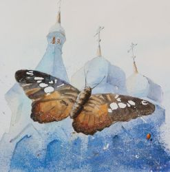 Butterfly and Orthodox Church by sanderus