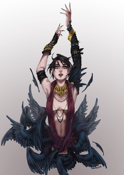 Morrigan and Crow by Shimylli